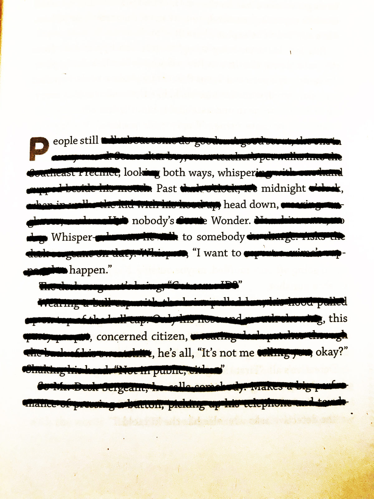 adjustment - page one | blackout poem and book | toddregoulinsky.com